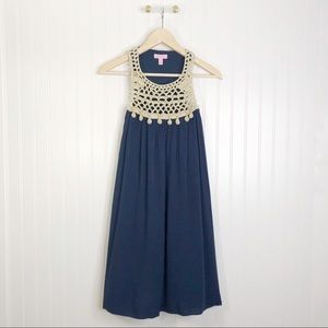 Lilly Pulitzer XS rachelle swing Navy gold dress